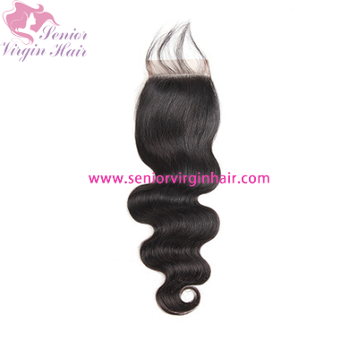 Free Shipping Natural Color Body Wave 4x4 Closure 100% Virgin Human Hair Swiss Lace Closure
