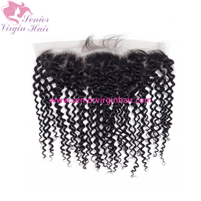 Italian Curly 13x4 Lace Frontal Human Hair Swiss Lace Frontals Pre Plucked With Baby Hair