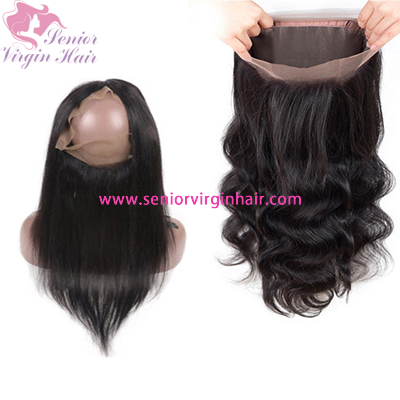 Brazilian 100% Virgin Human Hair Extensions 360 Lace Frontal Closure Silky Straight Body Wave