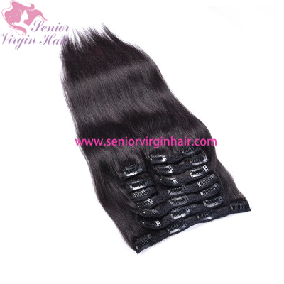 Clips In 100% Human Hair Extensions Full Head Set Straight Natural Hair