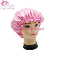 Fashion New Two-layer Polyester Satin Bonnet Night Sleep Silk Cap Shower Hat