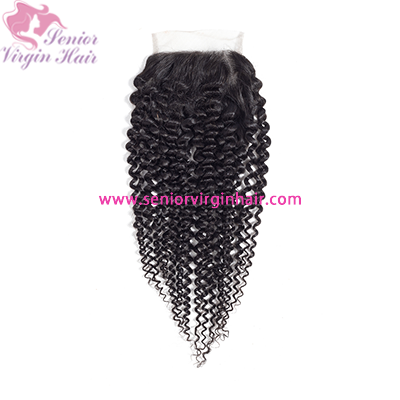 Senior Virgin Hair Kinky Curly 4*4 Lace Closure Luxury Hair Extensions