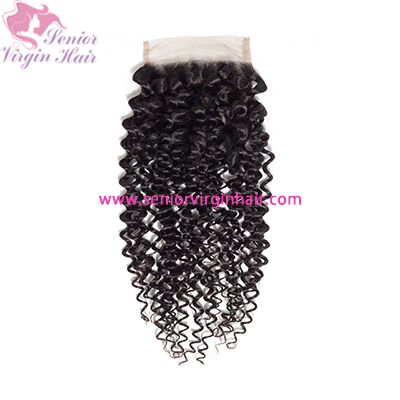 Brazilian Hair Curly 4*4 Lace Closure 100%  Human Hair Unprocessed