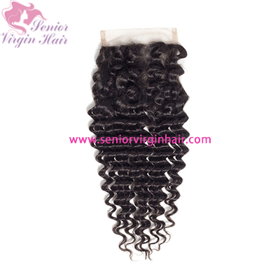 Natural Color Brazilian Hair Deep Wave 4*4 Lace Closure With Baby Hair
