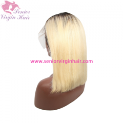 1B 613 Ombre Blonde Brazilian Straight Bob Wigs Human Hair