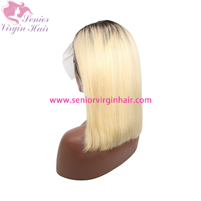 1B 613 Ombre Blonde Brazilian Straight Bob Wigs Human Hair Short Lace Front Wig
