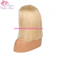 11A Grade 180% Density Short Bob Lace Wig Blonde #613 Bob Lace Front Wig 100% Human Hair Pre Plucked With Baby Hair