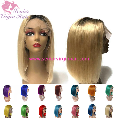 180% Density Short Lace Front Wig Human Hair 13X6 Pre Plucked Blue Red Grey Green Ombre Straight Short Bob Wigs For Black Women