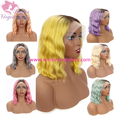 Ombre Colored Short Bob Wigs Lace Front Human Hair Wigs 1b Pink Red Grey Purple Blue 613 Blonde Body Wave Lace Front Wig Water Wave