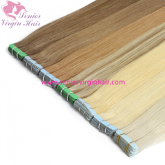 Tape In Human Hair Extensions Straight PU Weft Extension 18 Colors Natural Hair