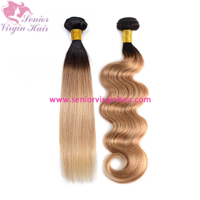 Brazilian Body Wave Silky Straight Ombre Bundles 1B/27 Human Hair Bundles Remy Hair