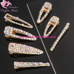 Rhinestone Hair Clip Girls Snap Hair Barrette Stick Hairpin Hair Styling Accessories For Women Girls