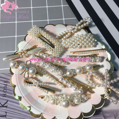 New Fashion Women Pearl Hair Clip Snap Hair Barrette Stick Imitation Pearl Hairpin Hair Styling Accessories For Women Girls