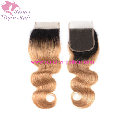 1B/27 Two-tone Ombre Color 4x4 Lace Closure Body Wave Silky Straight