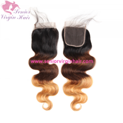 Brazilian Hair Ombre Color Three-tones 1B/4/27 Color Swiss Lace 4*4 Lace Closure Body Wave Silky Straight