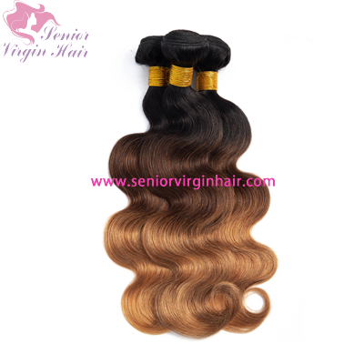 Brazilian Hair Ombre Color 1b/4/30 Bundles Extension Body Wave Silky Straight Virgin Human Hair Weave