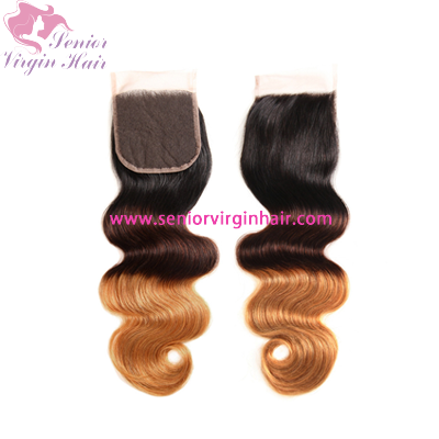 Brazilian 4x4 Swiss Lace Closure Ombre Hair 1b/4/30 Color Closure