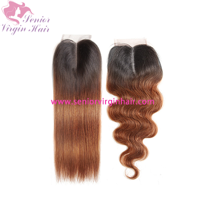 4x4 Swiss Lace Closure 1B/30 Ombre Color Closure 100% Brazilian Virgin Human Hair