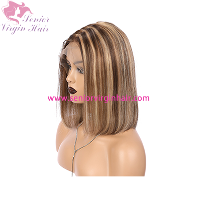 Highlight Wig Ombre Brown Honey Blonde Short Bob Wigs for Black Women Lace Front Wig Colored 150% Density Human Hair Wigs