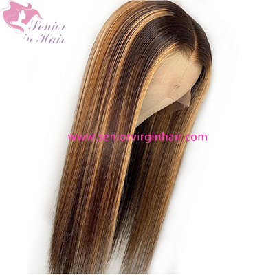 Brown Blonde Highlight Wig Ombre Human Hair Wigs 13x4 Straight Lace Front Human Hair Wigs For Women