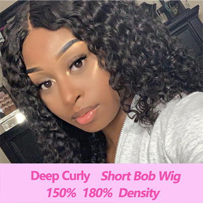 Brazilian Hair Deep Curly Short Bob Wig Human Hair Lace Front Wig