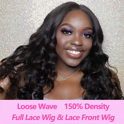 Brazilian 100% Human Hair Wigs Loose Wave Lace Front Wig Full Lace Wig