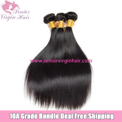 Senior Virgin Hair Free Shipping 3 Bundles Deal 10A Grade Mink Silky Straight Hair Unprocessed Human Hair Extension