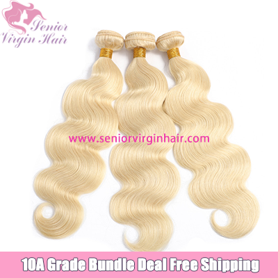 Platinum Blonde Color #613 Body Wave Bundle Deal Free Shipping