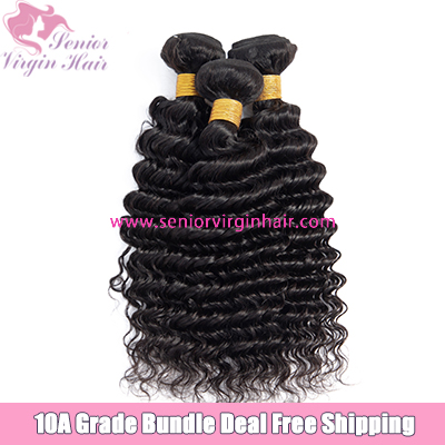 Senior Virgin Hair 3 Bundle Deal Free Shipping 10A Brazilian Deep Wave Luxury Hair Extensions