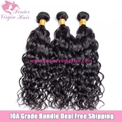 Senior Virgin Hair Free Shipping Bundle Deal Brazilian Water Wave Hair Extensions Raw Virgin Hair Unprocessed