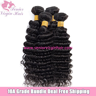 4 Bundles Deal Free Shipping Brazilian Deep Wave Bundles 100% Human Hair Weave