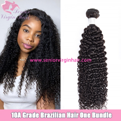 Senior Virgin Hair Natural Color 10A Brazilian Hair Curly Wave