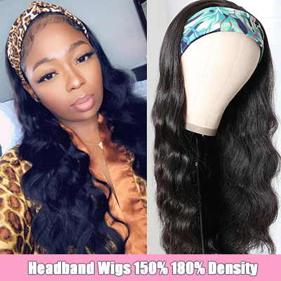 Body Wave Headband Wigs Natural Black Glueless Human Hair Headband Wigs