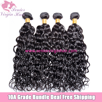 4 Bundles Deal Free Shipping Water Wave Bundles Natural Black 100% Human Hair