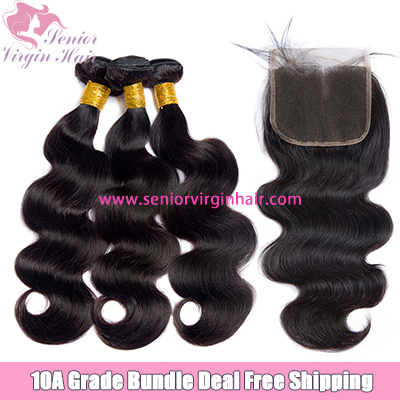 3 Bundles With Lace Closure Frontal Free Shipping Body Wave 100% Human Hair Unprocessed