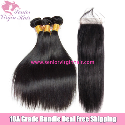 Free Shipping Bundle Deal Human Hair Silky Straight Bundles With Closure Frontal Brazilian Hair