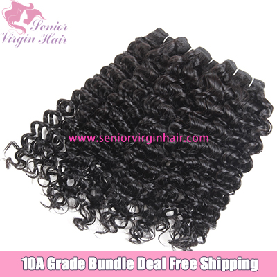 4 Bundles Deal Free Shipping Italian Curly Bundles Natural Black 100% Virgin Human Hair