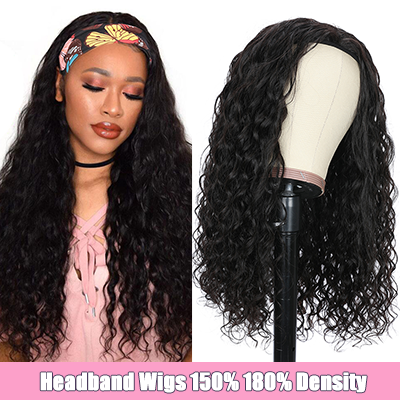 Water Wave Headband Wigs Human Hair Half Wig With Headband 100% Virgin Hair