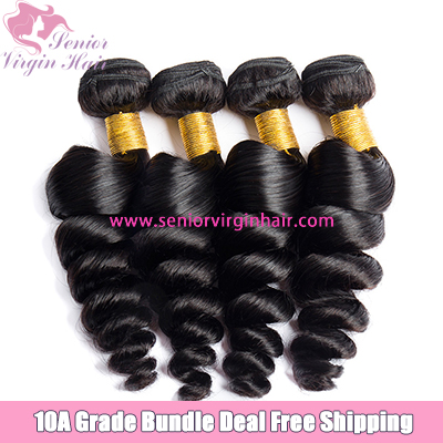 4 Bundles Deal Free Shipping Loose Wave Bundles Brazilian Hair Natural Black 100% Human Hair Weave