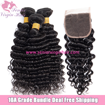 Free Shipping Bundle Deal Deep Wave 3 Bundles With Closure Frontal