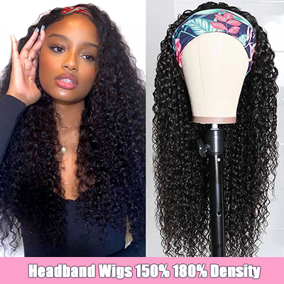 Curly Headband Wigs For Sale Human Hair Half Wigs With Headband