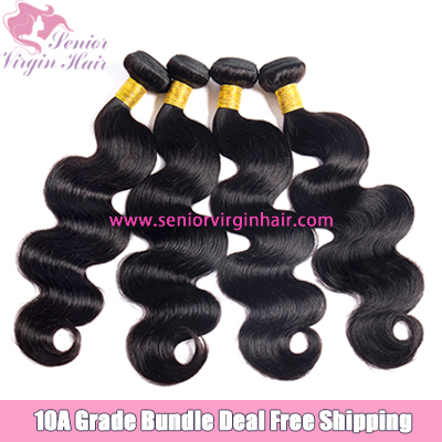 4 Bundles Deal Free Shipping Body Wave Bundle Natural Black 100% Human Hair