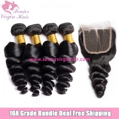 4 Bundles With Lace Frontal Closure Brazilian Hair Loose Wave Bundle Deal Free Shipping