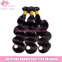 Senior Virgin Hair 3 Bundles Deal Free Shipping Brazilian Body Wave 100% Human Hair Unprocessed