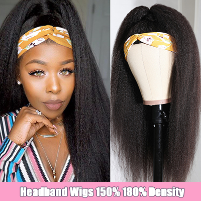 Kinky Straight Headband Wigs Glueless Human Hair Wigs Headband Half Wig