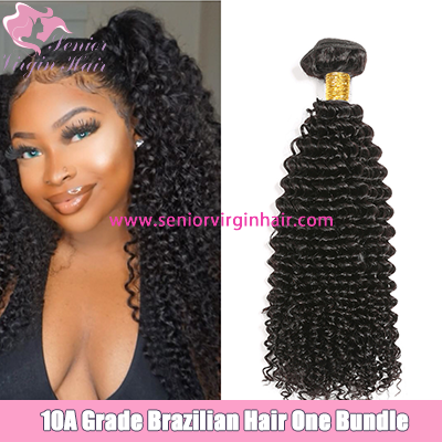 Senior Virgin Hair 10A Brazilian Kinky Curly Hair Weave Bundle Natural Black Color