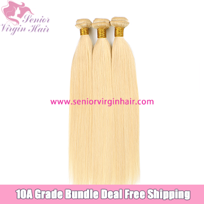 Free Shipping Bundle Deal 10A Platinum Blonde #613 Hair Silky Straight 100% Human Hair Weave