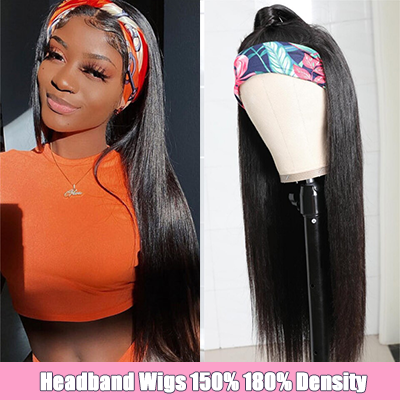 Brazilian Hair Straight Headband Wigs Virgin Human Hair Straight Hair Half Wigs