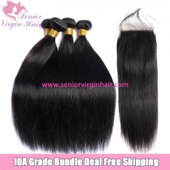 4 Bundles Virgin Brazilian Hair Weave With Lace Frontal Closure Straight Bundle Deals Free Shipping