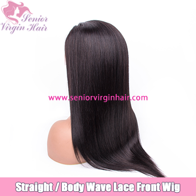 10A Grade Brazilian Hair Long Straight Body Wave Natural Black 1B Color Front Lace Wig Human Hair Wigs Pre Plucked With Baby Hair